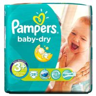 28 Couches Pampers Baby Dry Taille 3+ - allocouches
